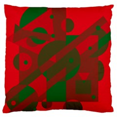 Red and green abstract design Large Cushion Case (Two Sides)