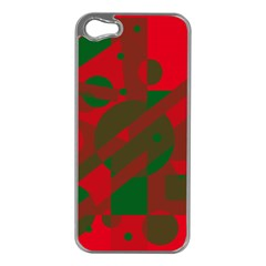Red and green abstract design Apple iPhone 5 Case (Silver)