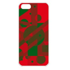 Red and green abstract design Apple iPhone 5 Seamless Case (White)