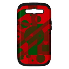 Red and green abstract design Samsung Galaxy S III Hardshell Case (PC+Silicone)