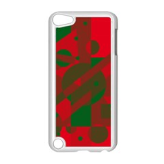Red and green abstract design Apple iPod Touch 5 Case (White)