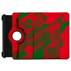 Red and green abstract design Kindle Fire HD Flip 360 Case