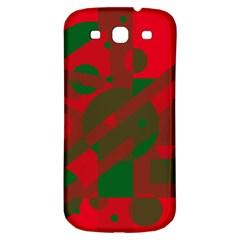 Red and green abstract design Samsung Galaxy S3 S III Classic Hardshell Back Case