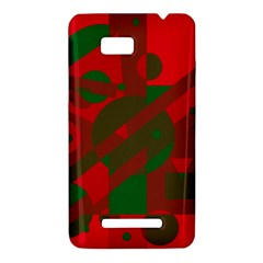 Red and green abstract design HTC One SU T528W Hardshell Case