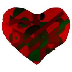 Red and green abstract design Large 19  Premium Heart Shape Cushions