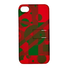 Red and green abstract design Apple iPhone 4/4S Hardshell Case with Stand