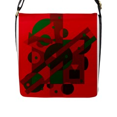 Red and green abstract design Flap Messenger Bag (L)