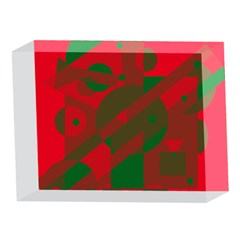 Red and green abstract design 5 x 7  Acrylic Photo Blocks