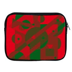 Red and green abstract design Apple iPad 2/3/4 Zipper Cases