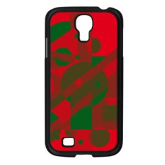 Red and green abstract design Samsung Galaxy S4 I9500/ I9505 Case (Black)