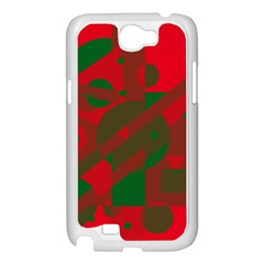 Red and green abstract design Samsung Galaxy Note 2 Case (White)