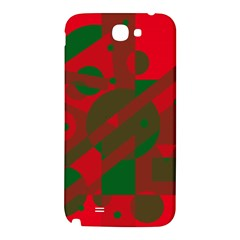Red and green abstract design Samsung Note 2 N7100 Hardshell Back Case