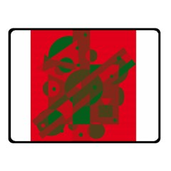 Red and green abstract design Double Sided Fleece Blanket (Small)