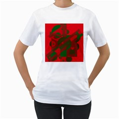 Red and green abstract design Women s T-Shirt (White)
