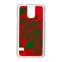 Red and green abstract design Samsung Galaxy S5 Case (White)