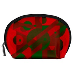 Red and green abstract design Accessory Pouches (Large)