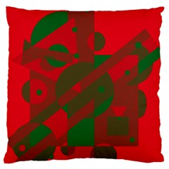 Red and green abstract design Large Flano Cushion Case (One Side)
