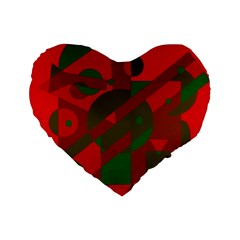 Red and green abstract design Standard 16  Premium Flano Heart Shape Cushions