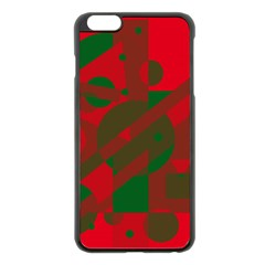 Red and green abstract design Apple iPhone 6 Plus/6S Plus Black Enamel Case
