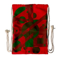 Red and green abstract design Drawstring Bag (Large)