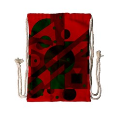 Red and green abstract design Drawstring Bag (Small)