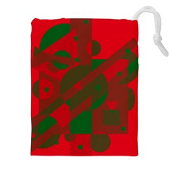 Red and green abstract design Drawstring Pouches (XXL)