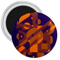 Blue and orange abstract design 3  Magnets