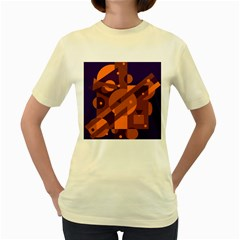 Blue and orange abstract design Women s Yellow T-Shirt