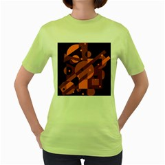 Blue and orange abstract design Women s Green T-Shirt