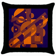 Blue and orange abstract design Throw Pillow Case (Black)