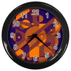Blue and orange abstract design Wall Clocks (Black)