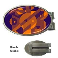 Blue and orange abstract design Money Clips (Oval)