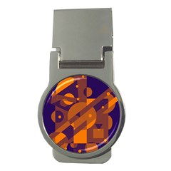 Blue and orange abstract design Money Clips (Round)