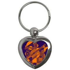 Blue and orange abstract design Key Chains (Heart)
