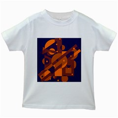 Blue and orange abstract design Kids White T-Shirts