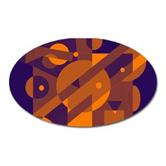 Blue and orange abstract design Oval Magnet