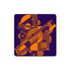 Blue and orange abstract design Square Magnet