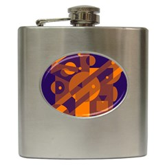 Blue and orange abstract design Hip Flask (6 oz)