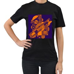 Blue and orange abstract design Women s T-Shirt (Black) (Two Sided)