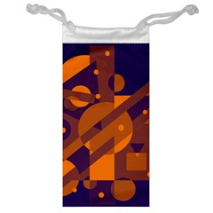Blue and orange abstract design Jewelry Bags