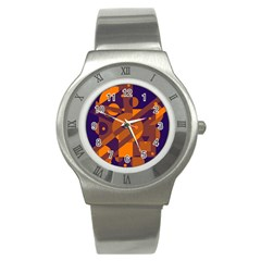 Blue and orange abstract design Stainless Steel Watch