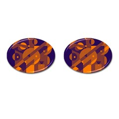 Blue and orange abstract design Cufflinks (Oval)