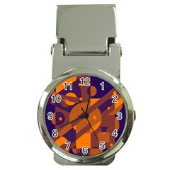 Blue and orange abstract design Money Clip Watches