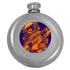 Blue and orange abstract design Round Hip Flask (5 oz)