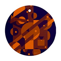 Blue and orange abstract design Round Ornament (Two Sides)