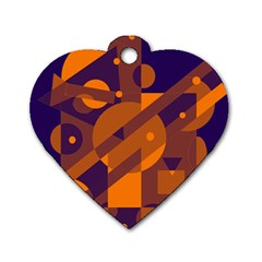 Blue and orange abstract design Dog Tag Heart (One Side)