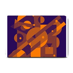 Blue and orange abstract design Small Doormat