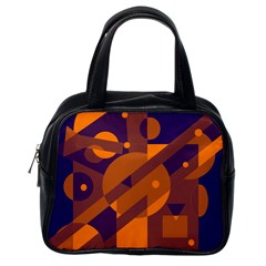 Blue and orange abstract design Classic Handbags (One Side)