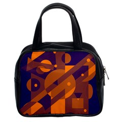 Blue and orange abstract design Classic Handbags (2 Sides)