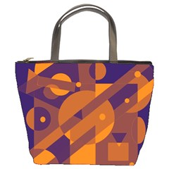 Blue and orange abstract design Bucket Bags